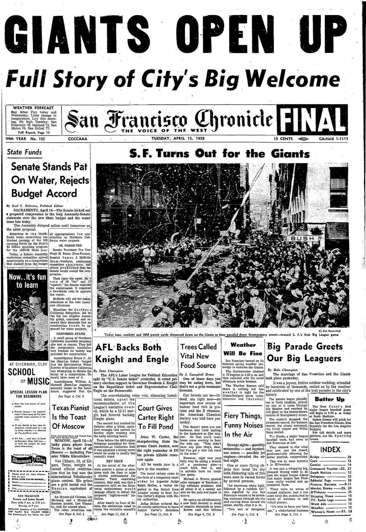 Historic Chronicle Front Page April 15, 1958 Opening Day parade for Giants who will be opening at Seal Stadium this day Chron365, Chroncover