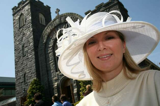 Greenwich resident Shanna Miller was resplendant in her Easter bonnet after attending Easter services at St. Mary's Church on Greenwich Avenue. Photo: David Ames, David Ames/For Greenwich Time / Greenwich Time
