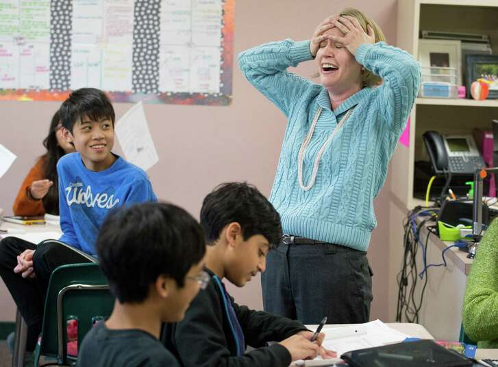 Michelle Nelson-Archer, a math teacher at Sartartia Middle School in Fort Bend Independent School District, reacts to being named a finalist for the 2016 H-E-B Excellence in Education Award, spotlighting the best educators in Texas.