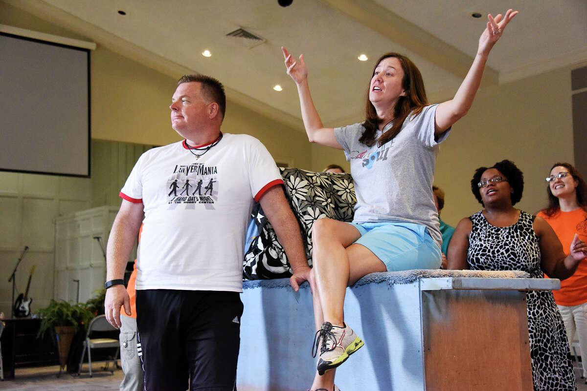 "Scott Davenport and Kathleen Bertolatus are seen rehearsing for last year's ""Night Court"" production."
