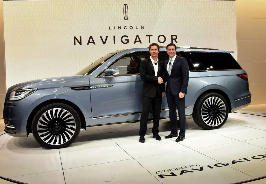 Matthew McConaughey, Oscar-winning actor and Lincoln spokesman, joined Mark Fields, president and CEO of Ford Motor Co. in introducing the Navigator Concept in New York. Photo: Lincoln / ,