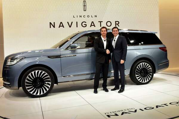 Matthew McConaughey, Oscar-winning actor and Lincoln spokesman, joined Mark Fields, president and CEO of Ford Motor Co. in introducing the Navigator Concept in New York.