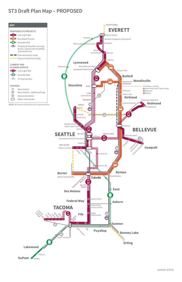 This map, included in the draft Sound Transit 3 proposal, shows existing and planned transit lines around the region. Photo: Courtesy Sound Transit