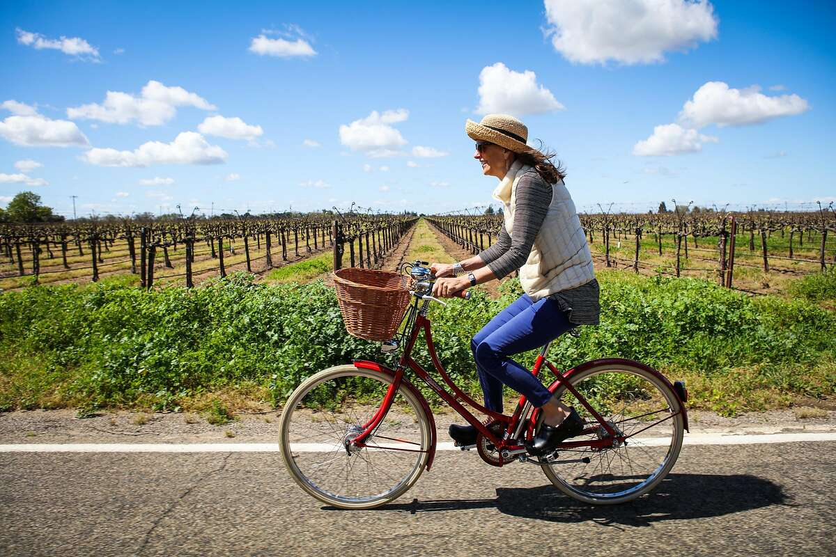 Robin Knowlton rides her bike from Durst Winery to Heritage Oak Winery, in Lodi, California, on Tuesday, March 22, 2016.