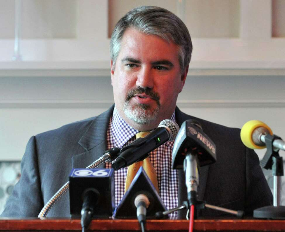 UAlbany Director of Athletics, Mark Benson, speaks during the Siena-UAlbany basketball press conference Tuesday, June 23, 2015 at 677 Prime in Albany, N.Y. Siena and UAlbany announced the extension of their Albany Cup basketball rivalry for another three years. (Phoebe Sheehan/Special to The Times Union)