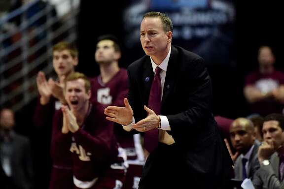 ANAHEIM, CA - MARCH 24:  Head coach Billy Kennedy of the Texas A&M Aggies cheers on his team in the second half while taking on the Oklahoma Sooners in the 2016 NCAA Men's Basketball Tournament West Regional at the Honda Center on March 24, 2016 in Anaheim, California.