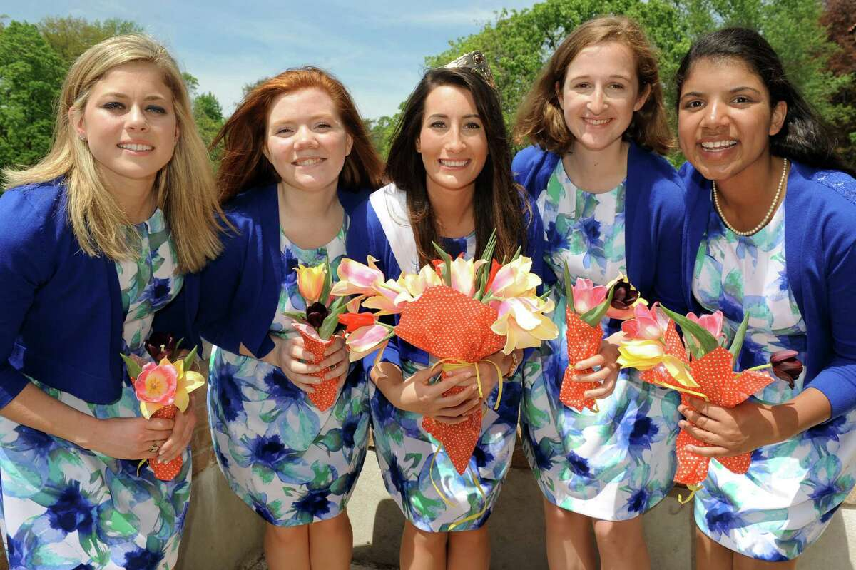 Tulip Queen Alexandra Cronin, center, and her court during the 67th Annual Tulip Festival on Saturday, May 9, 2015, at Washington Park in Albany, N.Y. The court, from left, are Jacqueline Murphy, Sarah Wilamowski, Eva Petkanas and Morgan Elizabeth Heyward. (Cindy Schultz / Times Union)