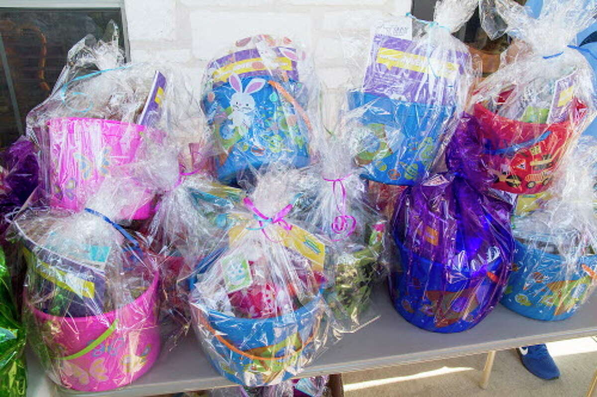 Egg baskets at San Antonio Village, Thursday, March 24, 2016, to be given to children of veterans as part of an