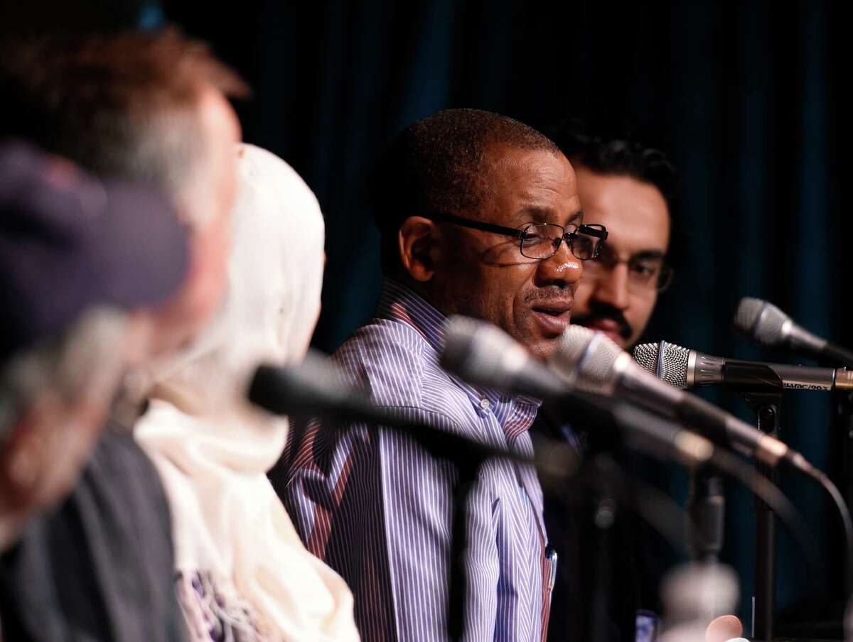 Francis Sengaboo speaks during ongoing events in conjunction with the A City of Immigrants celebration WAMC Northeast Public Radio and the Times Union partnered on a live panel at The Linda, WAMC's Performing Arts Studio on Thursday, March 24, 2016, in Albany, N.Y. Panelists in attendence were; Alan Chartock, WAMC; Paul Grondahl, Albany Times Union; Uzma Popal, Pakistani immigrant; Francis Sengabo, a Twandan refugee with Refugees and Immigrants Support Services of Emmaus(RISSE) and Maseeh Mukhtar, immigrant and Ph.D student in nanotechnology at SUNY Polytechnic. (Skip Dickstein/Times Union)