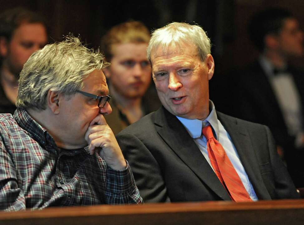 Phil Brown, right, is seen in the courtroom where owners of land in the Adirondack Mountains try to convince the state's Court of Appeals that the public should not be allowed to paddle through waterways that cross their property at the State Court of Appeals on Thursday, March 24, 2016 in Albany, N.Y. Phil Brown, the editor of the Adirondack Explorer, was sued by the Brandreth Park Association and Friends of Thayer Lake after he wrote an article in 2009 about canoeing from Lake Lila to Little Tupper Lake in the state-owned Whitney Wilderness Area. (Lori Van Buren / Times Union)