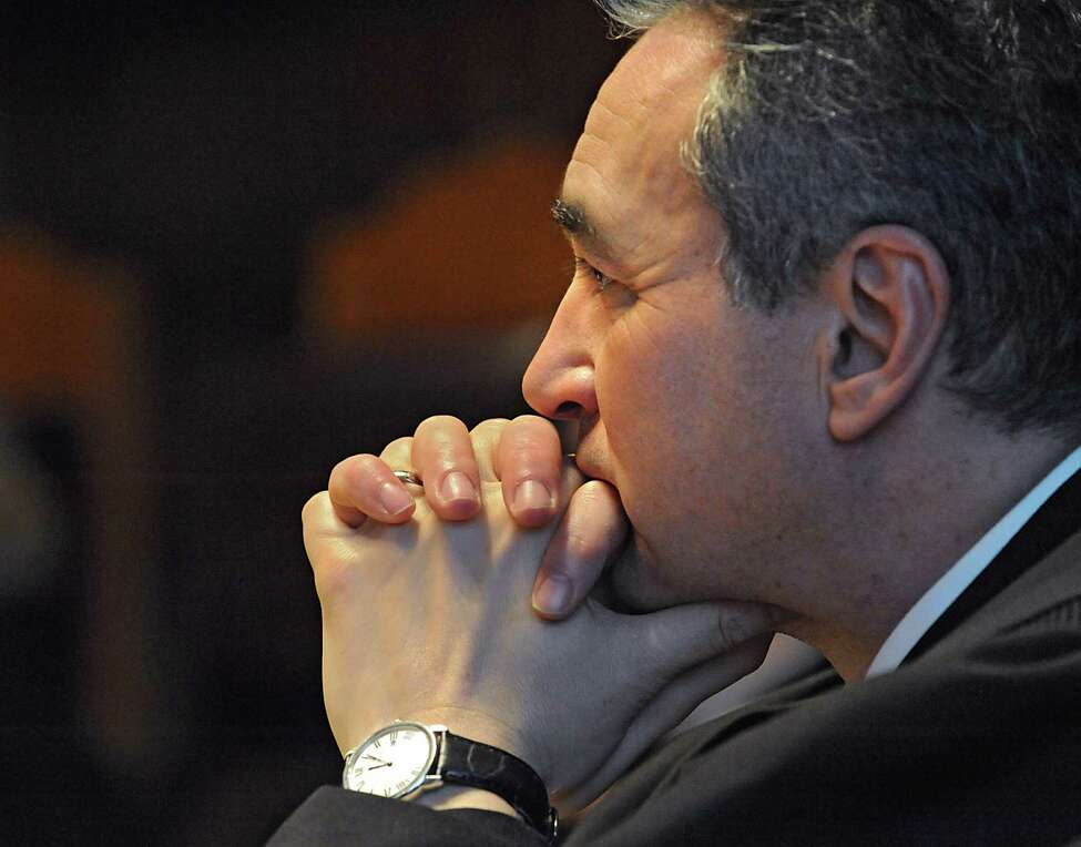 Michael Garcia, Associate Judge of the Court of Appeals, listens as an attorney representing owners of land in the Adirondack Mountains try to convince the state's Court of Appeals that the public should not be allowed to paddle through waterways that cross their property at the State Court of Appeals on Thursday, March 24, 2016 in Albany, N.Y. Phil Brown, the editor of the Adirondack Explorer, was sued by the Brandreth Park Association and Friends of Thayer Lake after he wrote an article in 2009 about canoeing from Lake Lila to Little Tupper Lake in the state-owned Whitney Wilderness Area. (Lori Van Buren / Times Union)