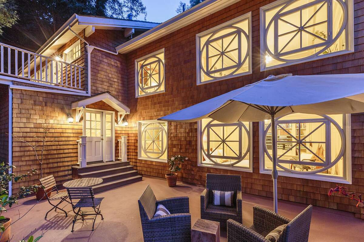 The shingled home's defining feature could be its eight 100-year-old windows sourced from the Canadian Pavilion during San Francisco's 1915 Panama-Pacific International Exposition.