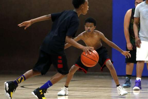 Aquil Perkins, 11, during an East Bay Soldiers' practice in Richmond, Calif., on Thursday, March 24, 2016.