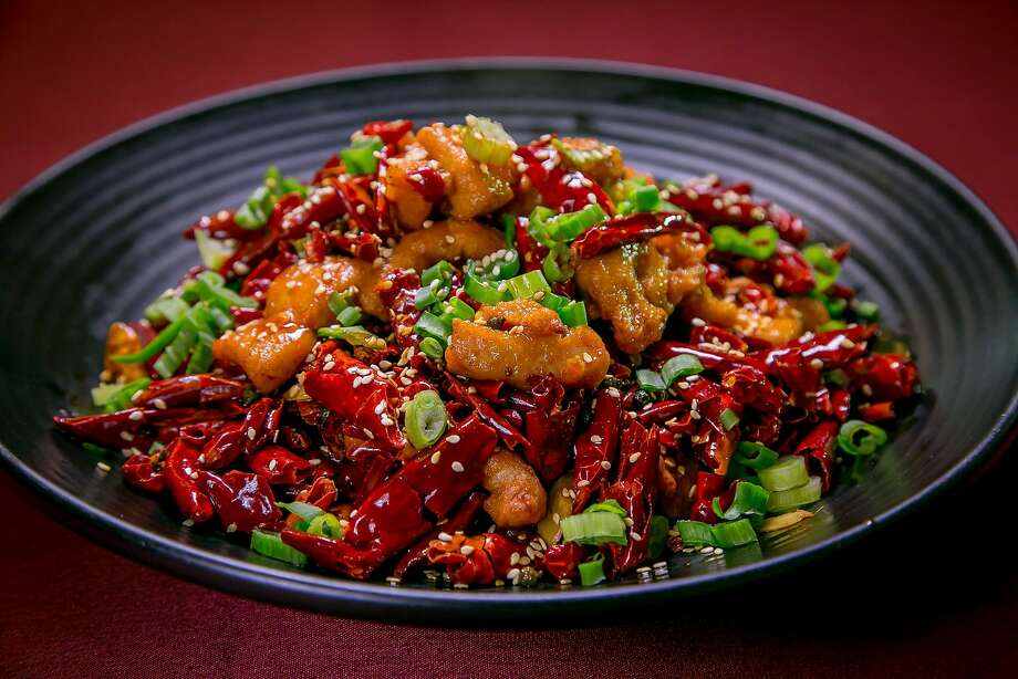 The Chicken with Explosive Chile Peppers at Z & Y Restaurant. Photo: John Storey, Special To The Chronicle