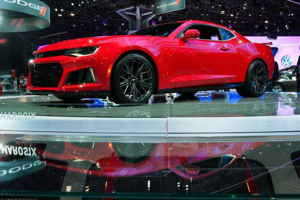 The 2017 Chevrolet Camaro ZL1 is displayed at the New York International Auto Show at the Javits Center on March 24, 2016 in New York City. The car, which has a V8 engine that generates 640 horsepower, is expected at dealerships in December. (Photo by Bryan Thomas/Getty Images)