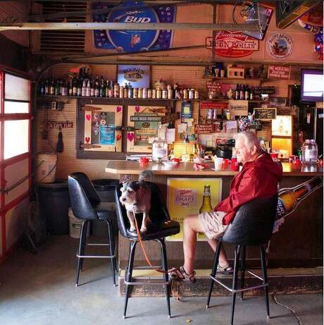 Charlie's Ice House (906 N Main St, Highlands, Texas). Behind the bar, you can see doors to the original ice cooler. Photo: David Richmond