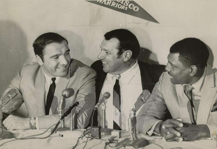SF Warriors President, Franklin Mieuli (center) introduces new head coach, George Lee (left) and assistant coach, All Attles in 1968. Photo: The Chronicle /1968