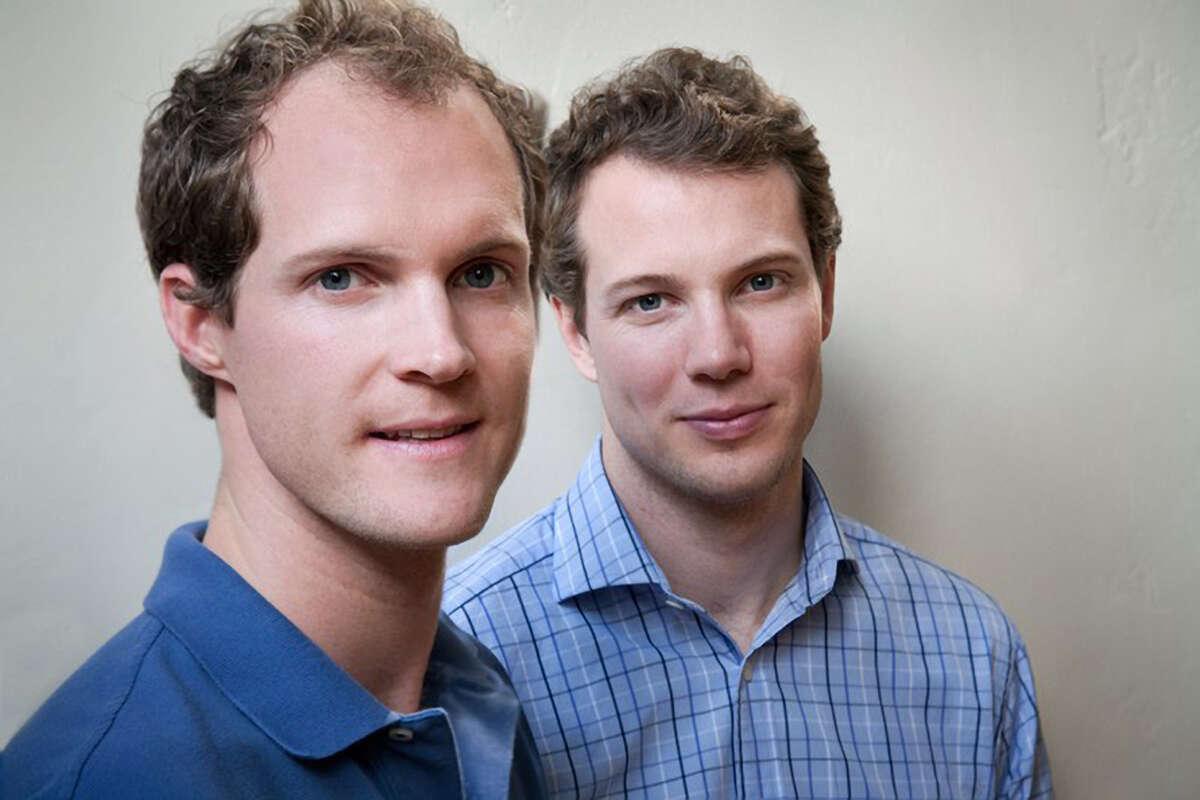 Brothers Chris (left) and Will Haughey make Tegu blocks.