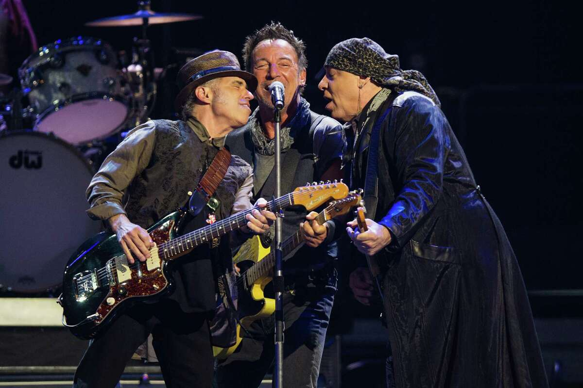 SEATTLE, WA - MARCH 24: (L-R) Nils Lofgren, Bruce Springsteen and Steven Van Zandt perform on stage during the 'River Tour' at KeyArena on March 24, 2016 in Seattle, Washington.