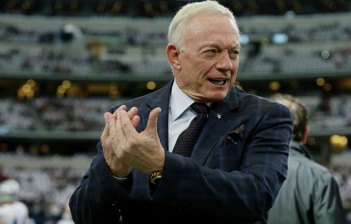 Dallas Cowboys team owner Jerry Jones cheers on his team during warm-ups before the game against the Washington Redskins on Jan. 3, 2016, in Arlington.