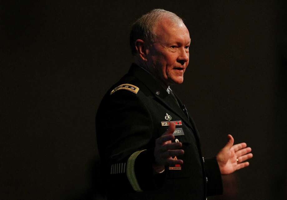 U.S. Army Gen. Martin Dempsey, current Chairman of the Joint Chiefs of Staff, speaks at the 60th Student Conference on National Affairs at Texas A&M University on Thursday, Feb. 19, 2015. Dempsey touched on topics from personal development, national and international issues to conflicts in the Middle East. (Kin Man Hui/San Antonio Express-News) Photo: Kin Man Hui, Staff / San Antonio Express-News / ©2015 San Antonio Express-News