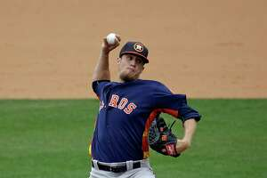 Houston Astros' Ken Giles pitches against the Atlanta Braves in the sixth inning of a spring training baseball game, Friday, March 25, 2016, in Kissimmee, Fla.