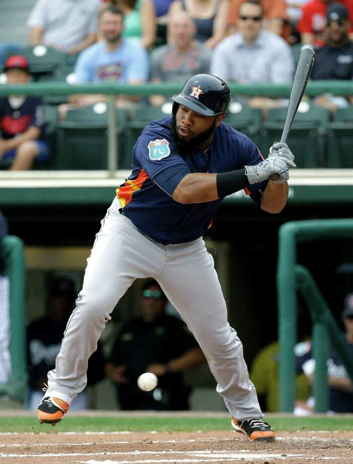 Houston Astros' Jon Singleton jumps back to avoid being hit by an inside pitch in the second inning of a spring training baseball game against the Atlanta Braves, Friday, March 25, 2016, in Kissimmee, Fla. Photo: John Raoux, AP / Copyright 2016 The Associated Press. All rights reserved. This material may not be published, broadcast, rewritten or redistribu