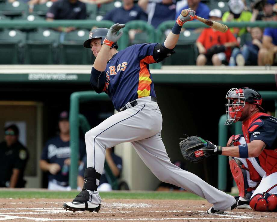 Houston Astros' Matt Duffy hits a double in the second inning of a spring training baseball game against the Atlanta Braves, Friday, March 25, 2016, in Kissimmee, Fla. Photo: John Raoux, AP / Copyright 2016 The Associated Press. All rights reserved. This material may not be published, broadcast, rewritten or redistribu