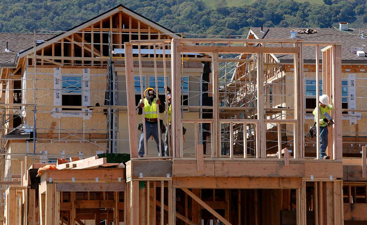 The construction of new homes and apartments is underway on the West side of Pleasanton, California, at the intersection of the I-680 freeway and Bernal Ave. on Fri. March 25, 2016.