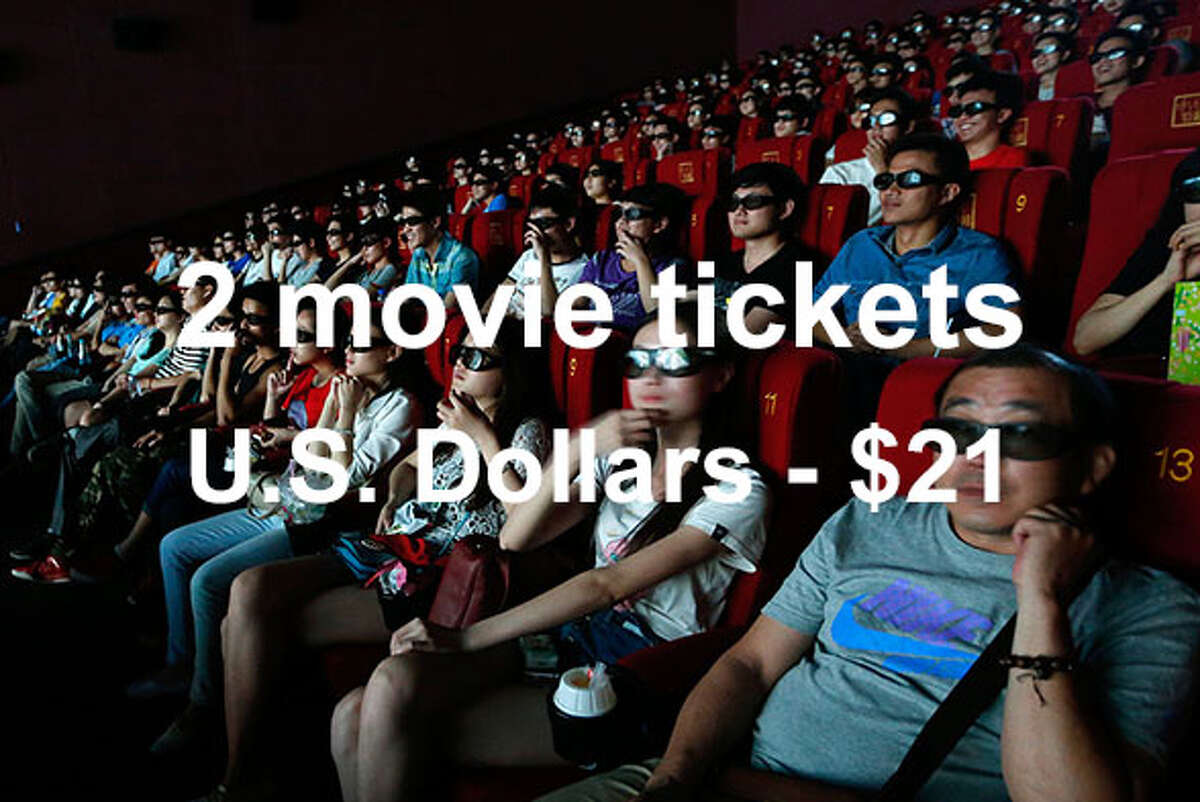 On average, two movie tickets cost $21 in U.S. dollars ... Source:Expatistan Cost of Living Index