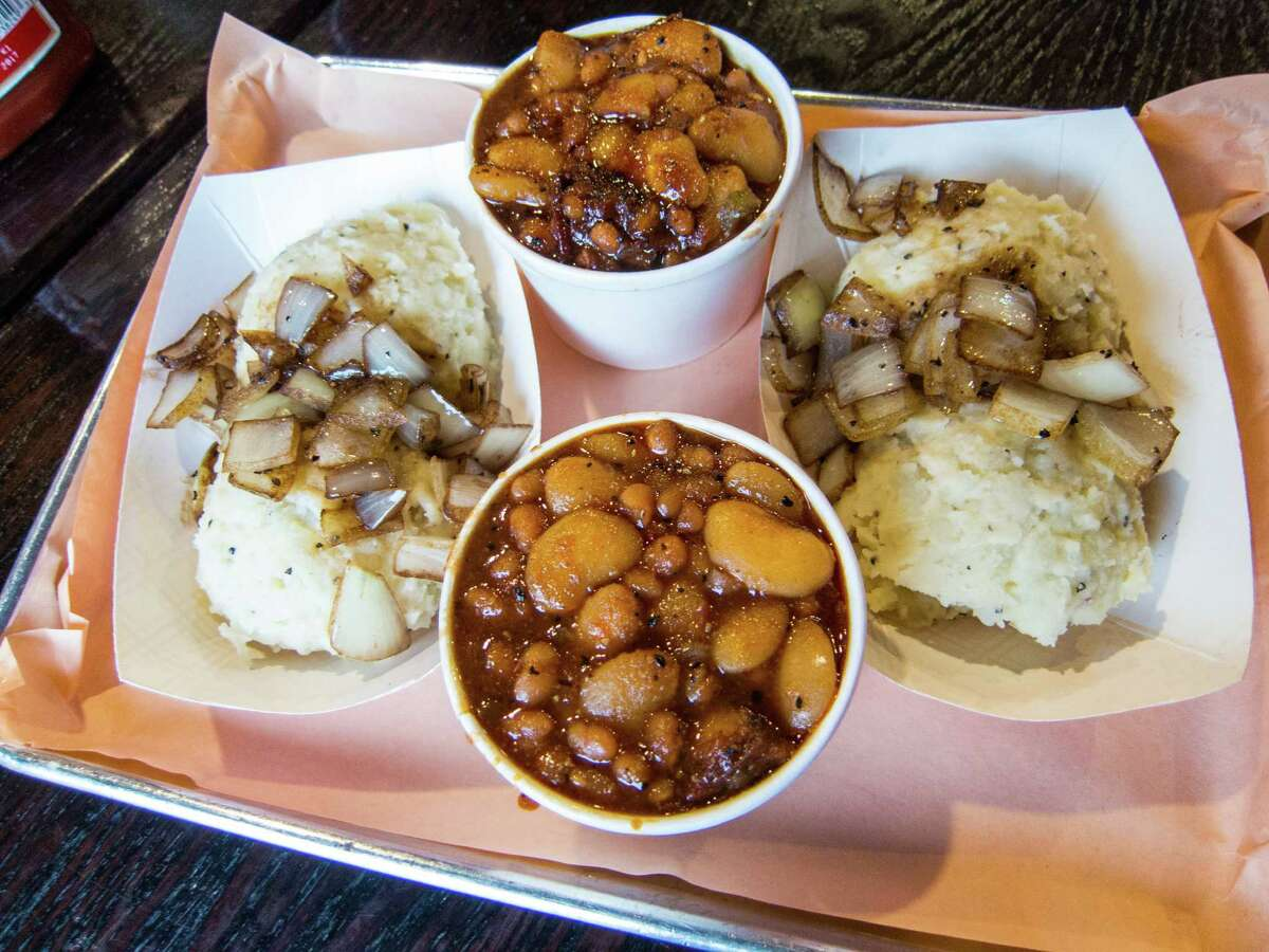 Mashed potatoes and beans at Izzy's Brooklyn Smokehouse - Crown Heights, Brooklyn, NYC