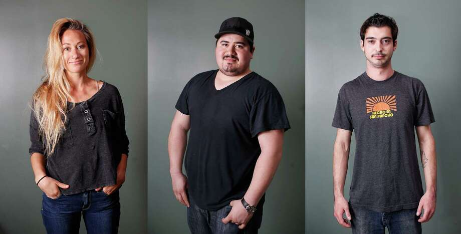 The faces behind the foodChronicle photographer Liz Hafalia took portraits of the staff at  Tacolicious to highlight the many people that fuel one of the city's  busiest restaurants.Pictured here: Tacolicious staff, from left to right: Server Nicole Sweeney (tenure: 2 years), prep cook Luis Alvarenga (tenure: 3 years), bartender Quinn O' Connor (tenure: 3 1/2 years)