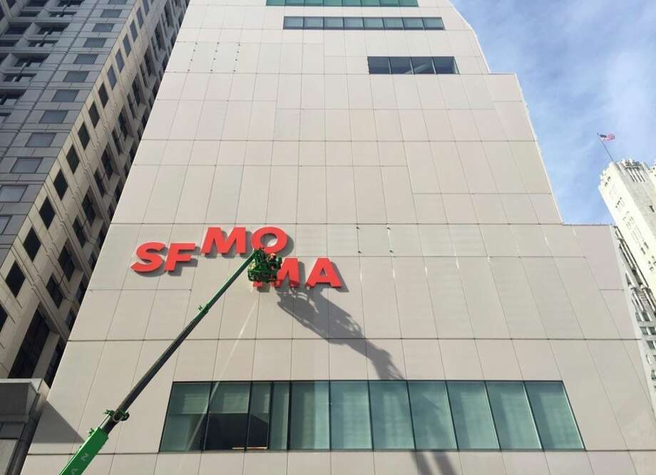 SFMOMA sign being installed