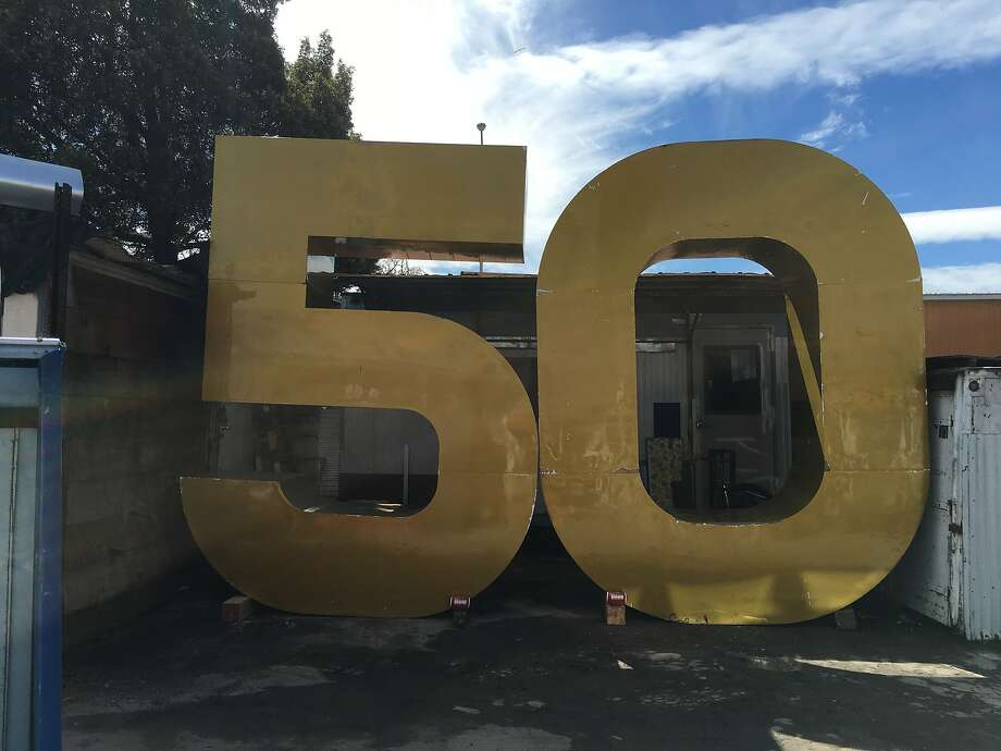 Giant Super Bowl 50 sculpture that adorned San Francisco's Embarcadero during last month's Super Bowl festivities awaits a buyer at Building REsources in the Bayview. Photo: Courtesy Building REsources/San Francisco