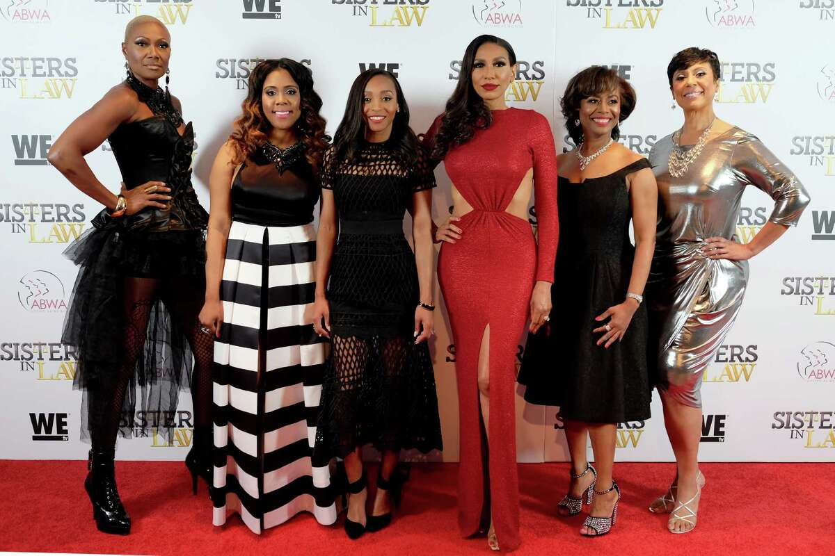 """NEW YORK, NEW YORK - MARCH 23: (L-R) Jolanda Jones, Monique Chantelle Sparks, Tiye Tarita Foley, Rhonda Hunter, Vivian R. King, and Juanita Jackson attend as WE tv hosts exclusive premiere screening for new series """"Sisters in Law"""" on March 23, 2016 in New York City. (Photo by D Dipasupil/Getty Images for WE tv)"""