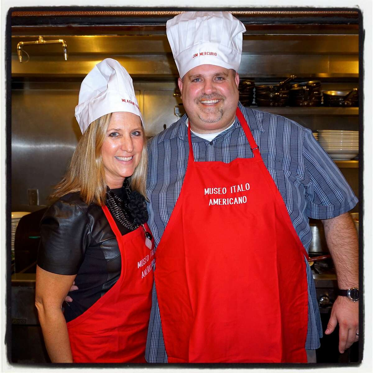 SF Park & Rec Commissioner Meagan Levitan (left) and Levi's Stadium Operations VP Jim Mercurio triumphed at Il Fornaio during the Museo Italo Americano's Pasta Cook-Off with their killer Bolognese. March 2016.