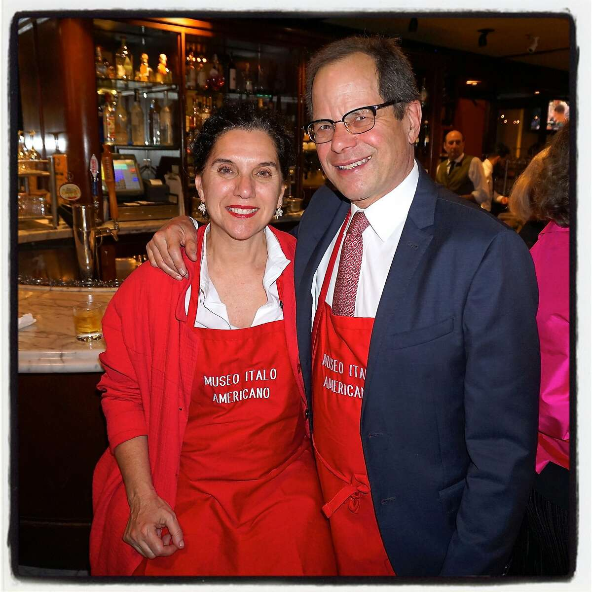 Teresa Pantaleo and her husband, SFJAZZ founder Randall Kline received an Honorable Mention for his wife's Pasta with Chickpeas recipe at the Museo Italo Americano Pasta Cook-Off at Il Fornaio. March 2016.