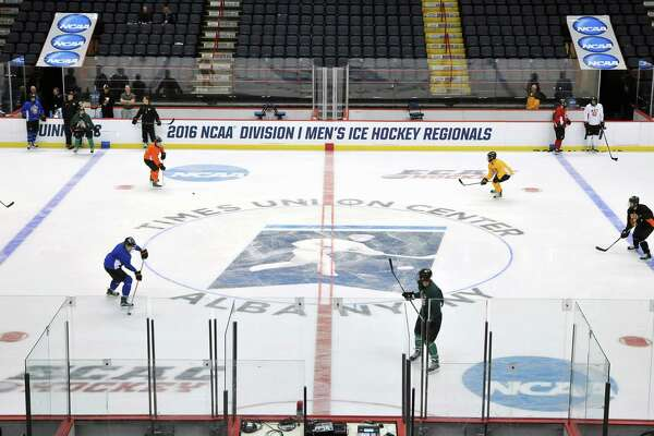 The Times Union Center?'s hockey field is ready for Saturday?'s kick-off of the NCAA Division 1 Men?'s Ice Hockey Regionals games. Photo taken on Friday, March 24, 2016, during Rochester Institute of Technology men?'s hockey team practice at the Times Union Center, Albany. (Brittany Gregory / Special to the Times Union)
