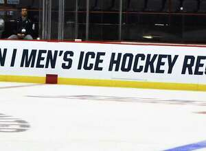 The Times Union Center's hockey field is ready for Saturday's kick-off of the NCAA Division 1 Men's Ice Hockey Regionals games. Photo taken on Friday, March 24, 2016, during Yale mens hockey team's practice at the Times Union Center, Albany, N.Y. (Brittany Gregory / Special to the Times Union)