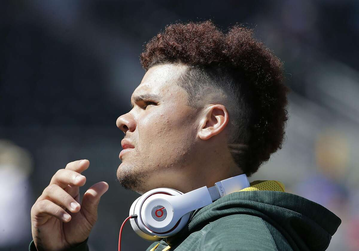 Oakland Athletics Bruce Maxwell before a spring training baseball game against the Chicago Cubs in Mesa, Ariz., Sunday, March 13, 2016. (AP Photo/Jeff Chiu)