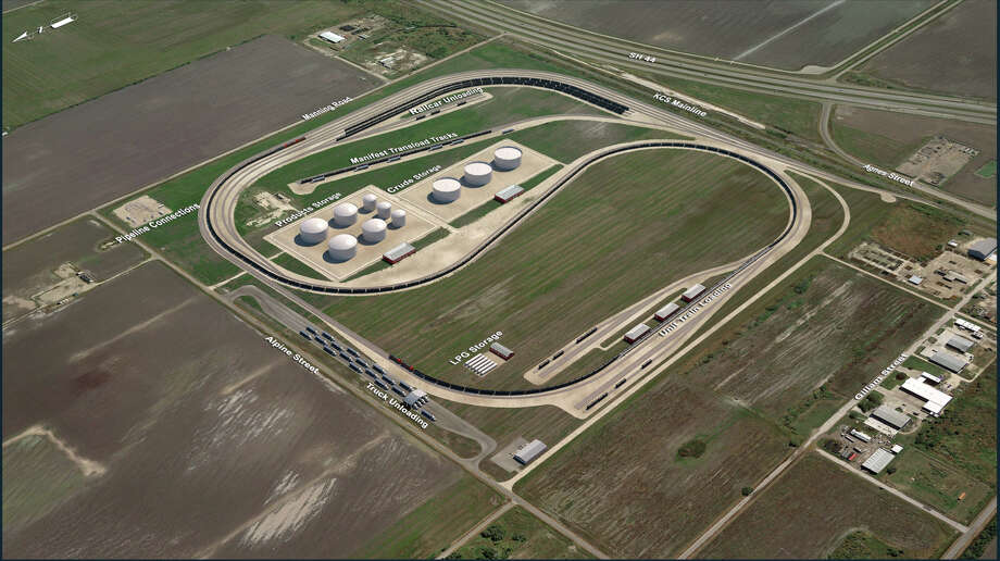 This rendering shows Rangeland Energy's proposed rail terminal for near Corpus Christi. The terminal will be a staging area for fuel headed into Mexico. Photo: Illustration Courtesy Of Rangeland Energy