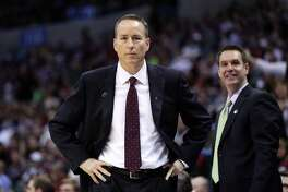OKLAHOMA CITY, OK - MARCH 20:  Head coach Billy Kennedy of the Texas A&M Aggies looks on in the first half against the Northern Iowa Panthers during the second round of the 2016 NCAA Men's Basketball Tournament at Chesapeake Energy Arena on March 20, 2016 in Oklahoma City, Oklahoma.  (Photo by Ronald Martinez/Getty Images)
