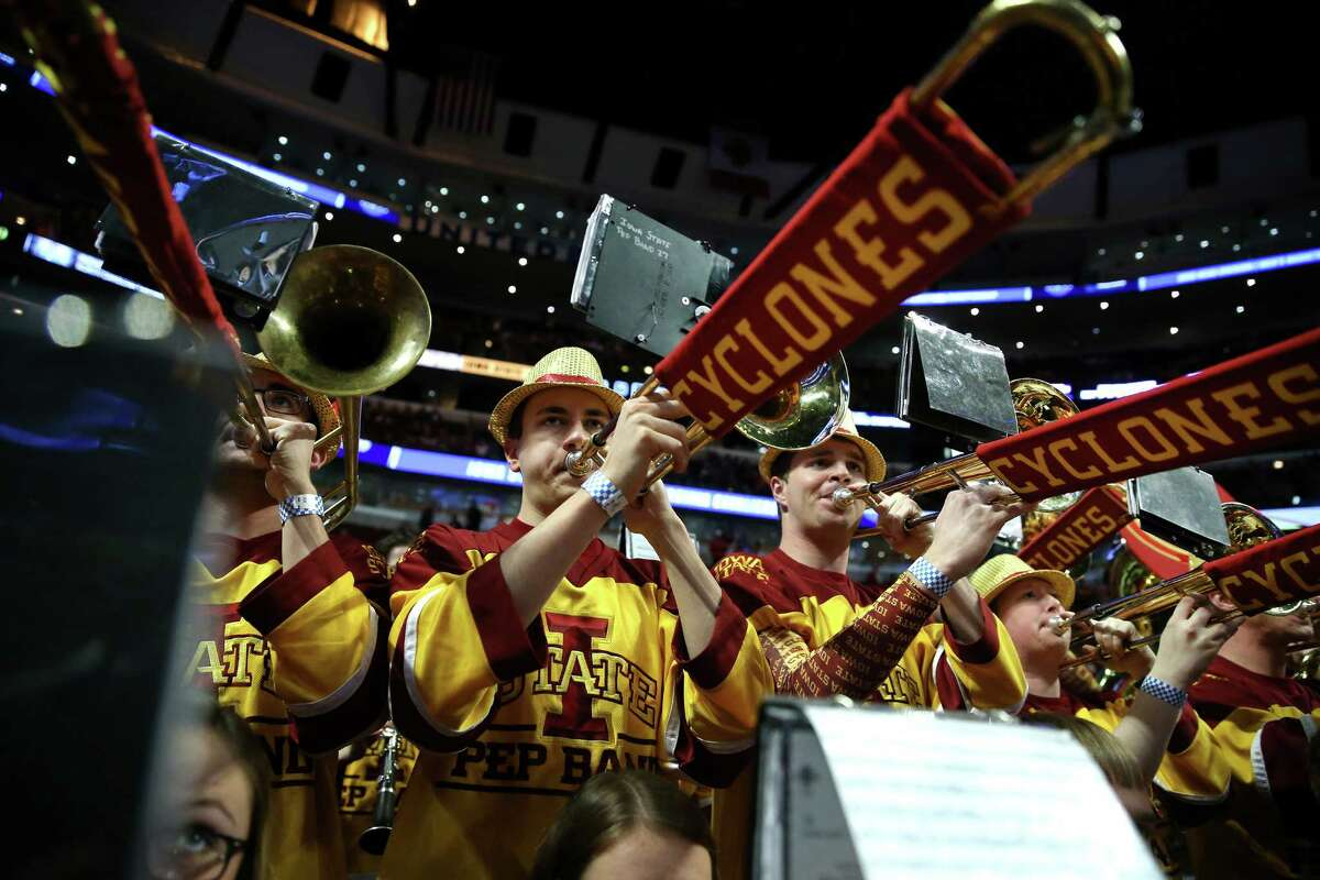 The Iowa State band performs before taking on Virginia in a Sweet 16 matchup of the NCAA Tournament's Midwest region at the United Center in Chicago on Friday, March 25, 2016. Virginia advanced, 84-71.