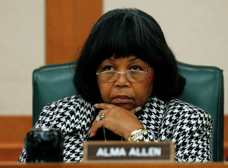 Rep. Alma Allen, D-Houston, listens to testimony during a hearing by members of the House Appropriations Subcommittee on Criminal Justice Wednesday, Feb. 6, 2008, in Austin, Texas. Members heard testimony regarding funding of the Texas Youth Commission.  (AP Photo/Harry Cabluck)