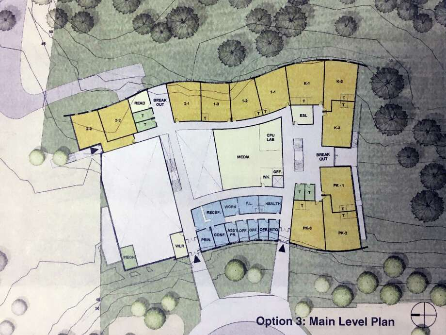 "The Option 3 architectural plan for New Lebanon School revealed by Tai Soo Kim Partners Architects to the Board of Education in Greenwich in January. In December, the building committee asked the architects for more options, so on Wednesday two new plans, touted ""Option 3"" and ""Option 4"" were unveiled before the building committee and school board. Photo: Contributed Photo / Greenwich Time Contributed Photo"