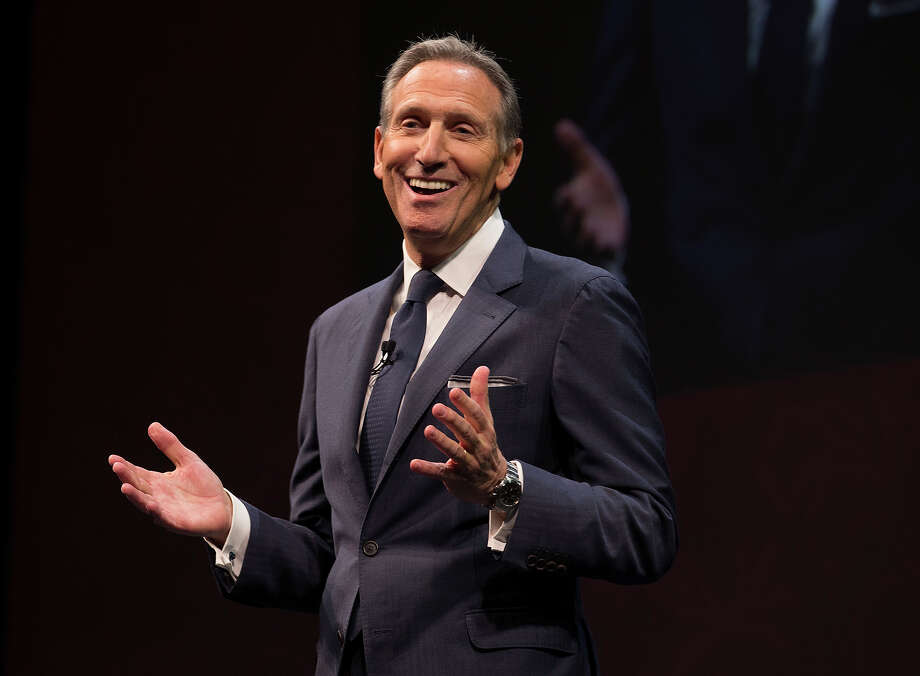 Starbucks chairman and CEO Howard Schultz in a scene from Starbucks' annual shareholders meeting in Seattle on March 23, 2016.  (Photo by Starbucks) Photo: Multiple