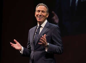 Starbucks chairman and CEO Howard Schultz in a scene from Starbucks' annual shareholders meeting in Seattle on March 23, 2016.  (Photo by Starbucks)