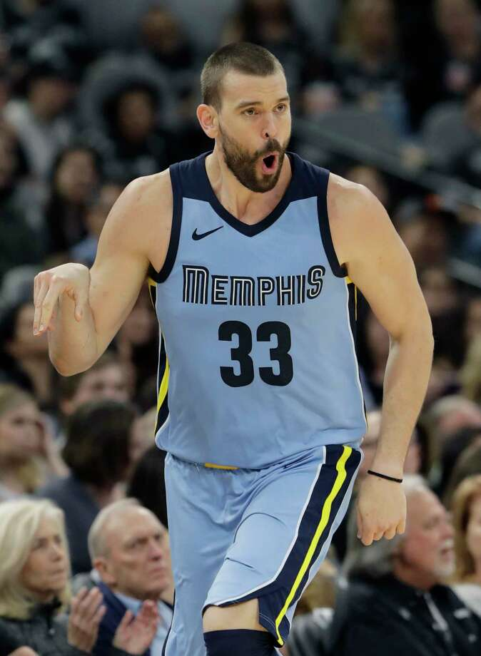 Memphis Grizzlies center Marc Gasol (33) celebrates after he scored against the San Antonio Spurs during the second half of an NBA basketball game, Monday, March 5, 2018, in San Antonio. (AP Photo/Eric Gay) Photo: Eric Gay, Associated Press / Copyright 2018 The Associated Press. All rights reserved.