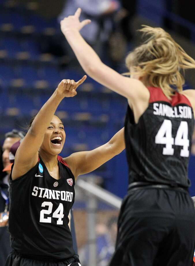 Stanford's Erica McCall (24) and Karlie Samuelson (44) celebrate after a regional semifinal in the NCAA women's college basketball tournament in Lexington, Ky., Friday, March 25, 2016. Stanford won 90-84. Photo: James Crisp, AP
