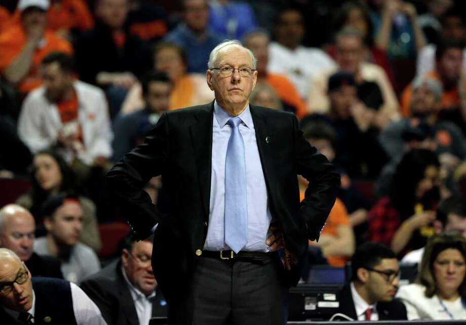 Syracuse's head coach Jim Boeheim watches during the second half of a college basketball game against Gonzaga in the regional semifinals of the NCAA Tournament, Friday, March 25, 2016, in Chicago. Photo: Nam Y. Huh, AP / AP